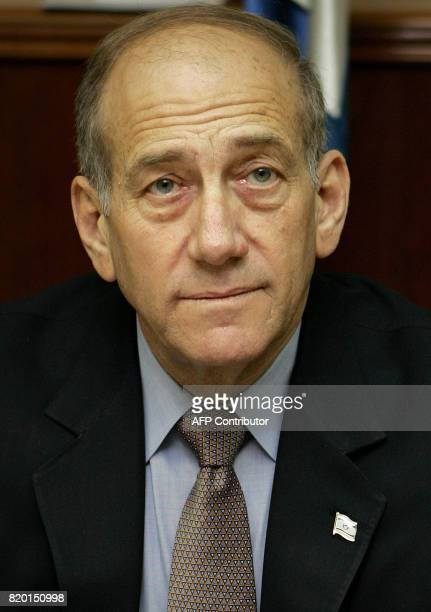 Israeli acting Prime Minister Ehud Olmert is seen at the weekly cabinet meeting in Jerusalem 05 March 2006 Olmert called on religious leaders Sunday...