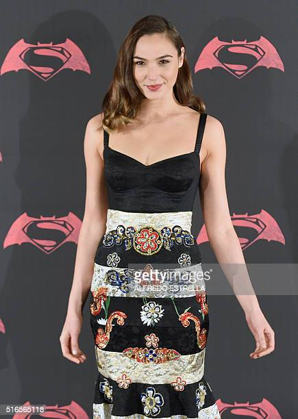 Israeli actress and model Gal Gadot poses for photographers during a photocall of the new film 'Batman v Superman Dawn of Justice' at the St Regis...
