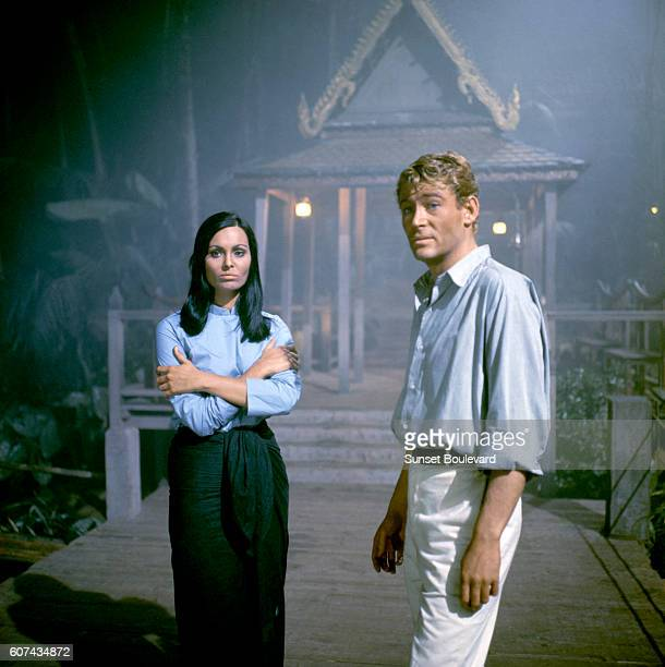 Israeli actress Daliah Lavi and Irish actor Peter O'Toole on the set of Lord Jim based on the novel by Joseph Conrad and directed by Richard Brooks