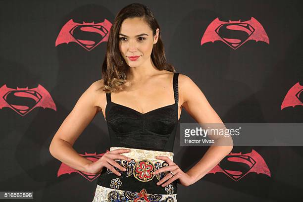 Israeli actress Gal Gadot poses for pictures during the Batman v Superman Movie photocall at St Regis Hotel on March 19 2016 in Mexico City Mexico