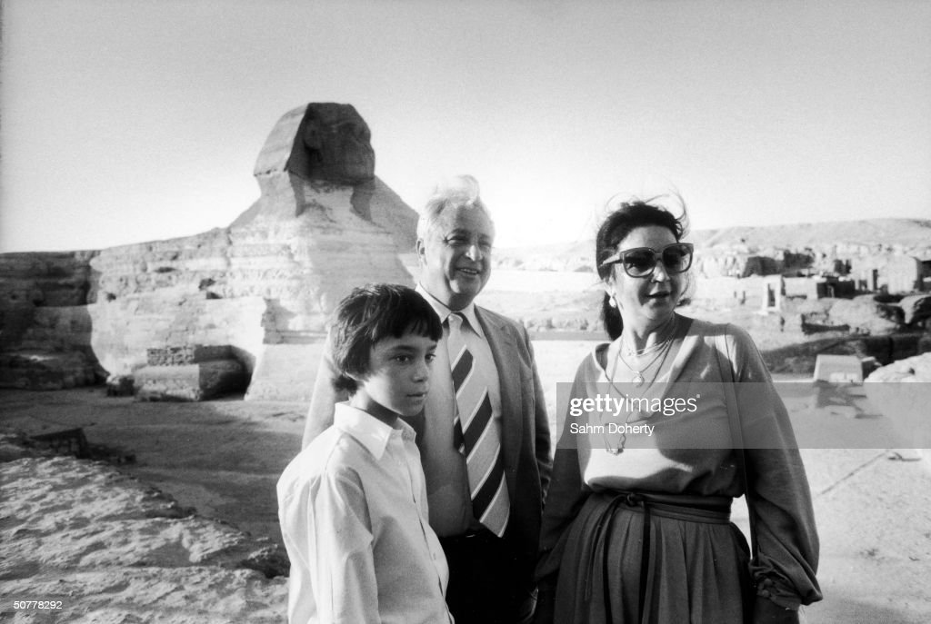 Israeli Agriculture Minister (and later Prime Minister) Ariel Sharon (C) with his son Gilad (left) and wife Lily Sharon (1937 - 2000) in Egypt, 1979.