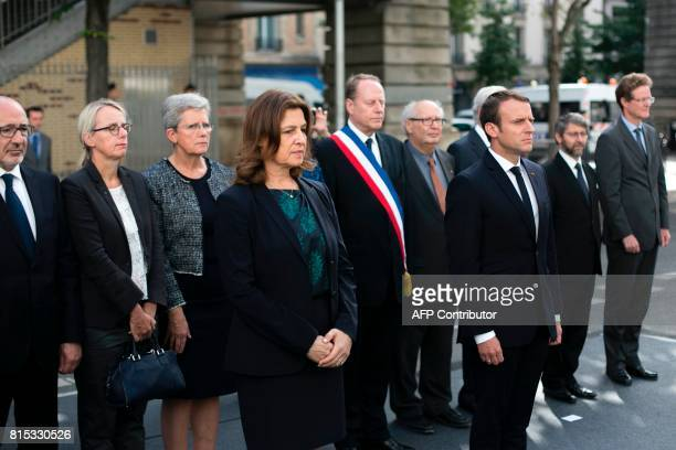 Israeli Ambassador Aliza BinNoun and French President Emmanuel Macron pay their respects after laying a wreath at the Vel d'Hiv Roundup memorial in...
