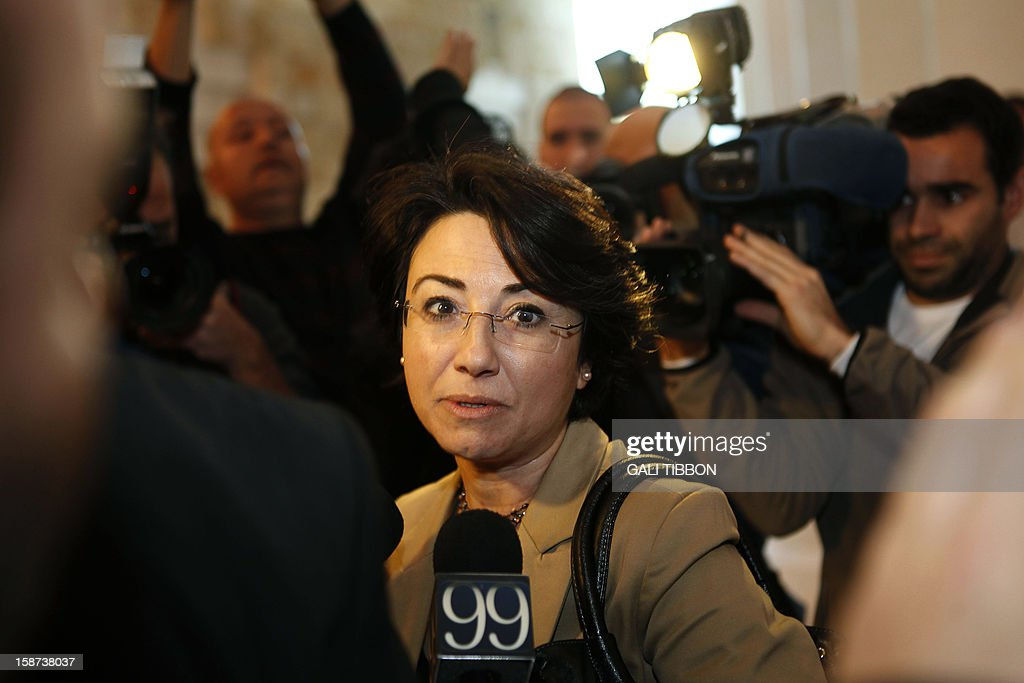 Israeli Arab Knesset (parliament) member Hanin Zuabi arrives to the Supreme Court in Jerusalem on December 27, 2012, for a hearing regarding the Election Committee's decision to disqualify her from contending in the upcoming elections. AFP PHOTO/GALI TIBBON
