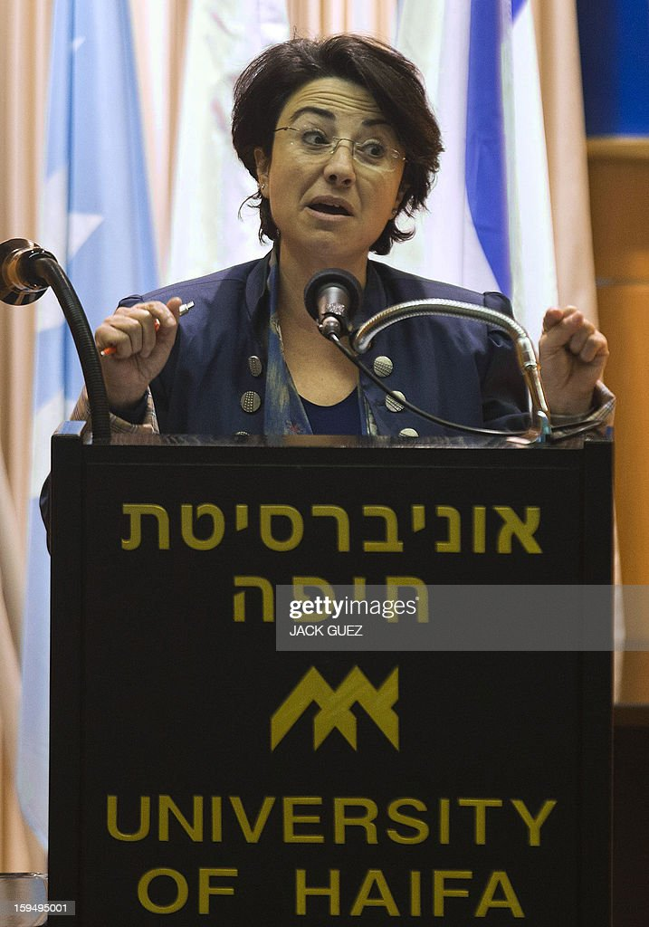 Israeli Arab member of the Knesset (Israeli parliament), Hanin Zuabi of the National Democratic Party (Balad), delivers a campaign speech during an electoral meeting at the Haifa University Centre in the Mediterranean coastal city of Haifa, on January 14, 2013. Arab-Israelis, descendants of the 160,000 Palestinians who stayed on after the creation of Israel in 1948, make up 20 percent of the population. AFP PHOTO/JACK GUEZ