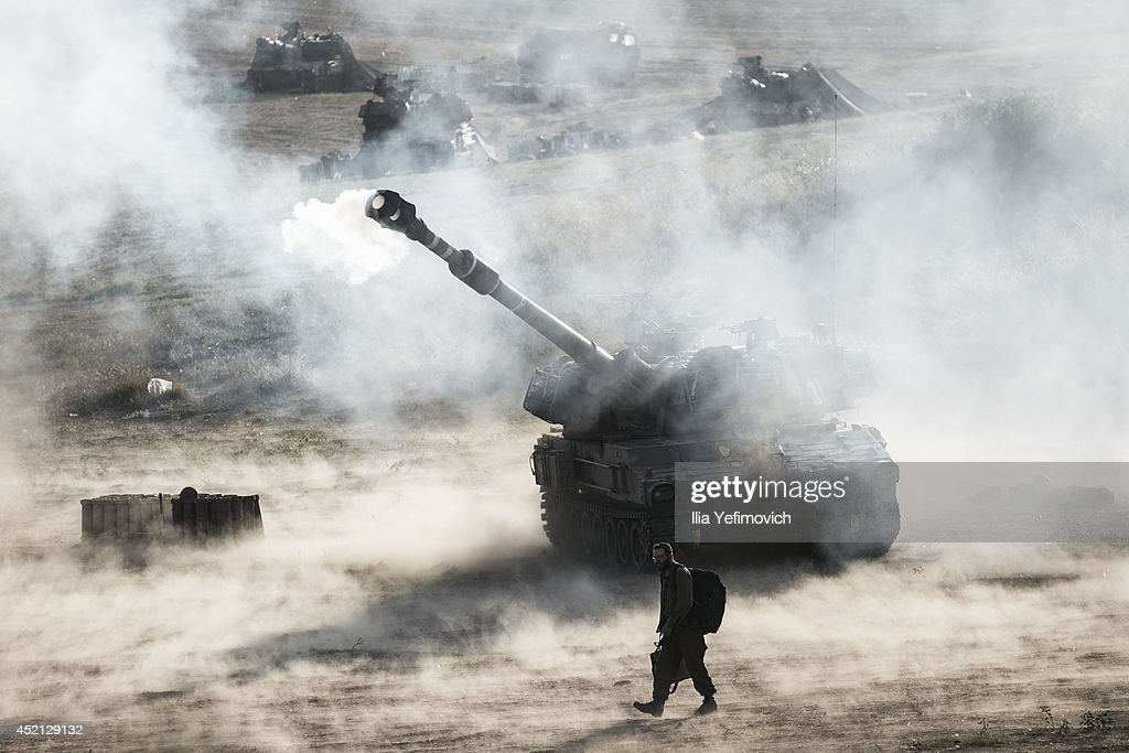 Israeli artillery smoke can be seen on July 14 2014 at the IsraeliGaza border Israel's operation 'Protective Edge' has entered a seventh day as the...