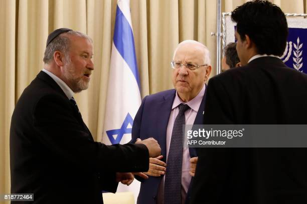 Israeli attorney general Avichai Mandelblit speaks to Israeli President Reuven Rivlin during an event at the Presidential compound in Jerusalem on...