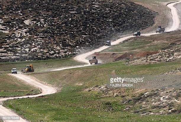 Israeli bulldozers arrive to demolish Palestinian houses in a disputed military zone in the area of Musafir Jenbah which includes several villages...