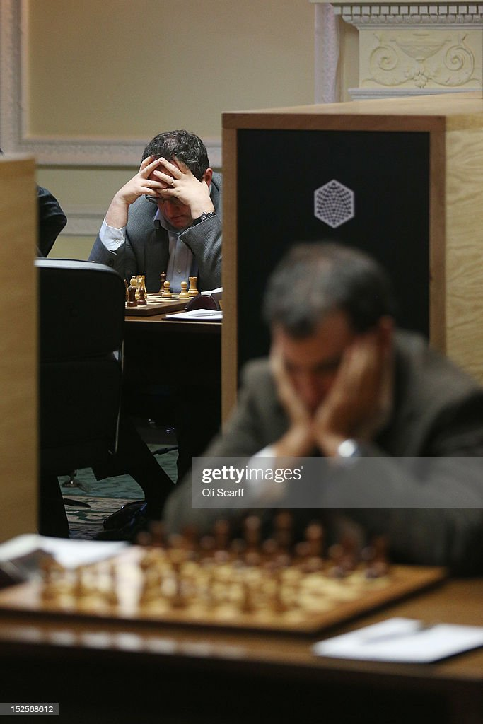 Israeli Chess Grandmaster <a gi-track='captionPersonalityLinkClicked' href=/galleries/search?phrase=Boris+Gelfand&family=editorial&specificpeople=790712 ng-click='$event.stopPropagation()'>Boris Gelfand</a> (L) plays in the World Chess London Grand Prix at Simpson's-in-the-Strand on September 22, 2012 in London, England. The event, which begins the 2012/13 World Chess Championship Cycle, runs until October 3, 2012 and takes place over 11 rounds. The London Grand Prix is the first tournament in an ambitious, high-profile rebranding of world chess by American-born entrepreneur Andrew Paulson whose intention is to regain the global popularity chess enjoyed in the 1970s with matches between American Bobby Fischer and the Soviet Union's Boris Spassky.
