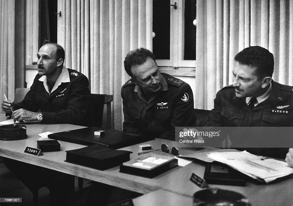 Israeli Chief of Staff General Yitzhak Rabin with General Mordechai Hod left and General Ezer Weizman during the Six Day War against Egypt 6th June...