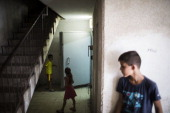 Israeli children seen play by a bomb shelter on July 14 2014 at the city of Ashkelon Israel's operation 'Protective Edge' has entered a seventh day...