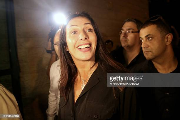Israeli Culture and Sports minister Miri Regev arrives to watch actors from Habima the national theatre of Israel perform A Simple Story a dramatised...
