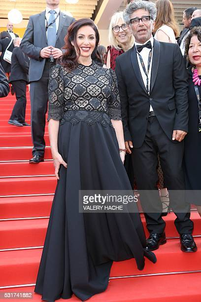Israeli Culture and Sports minister Miri Regev poses as she arrives on May 15 2016 for the screening of the film 'Beyond the Mountains and Hills ' at...