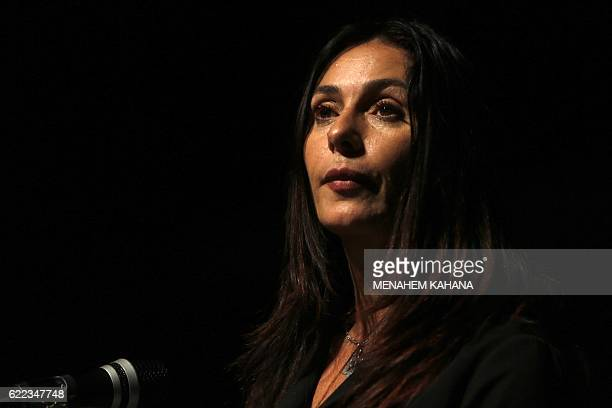 Israeli Culture and Sports minister Miri Regev speaks before the actors from Habima the national theatre of Israel performed A Simple Story a...