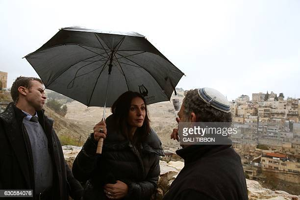 Israeli Culture and Sports Minister Miri Regev visits the City of David archeological site outside the walls of Jerusalem's old city on December 27...