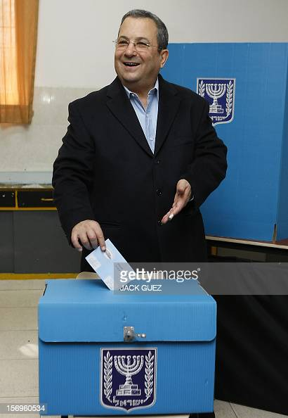 Israeli Defence Minister and Labour party leader Ehud Barak casts his ballot at a polling station in Tel Aviv on February 10 2009 Israel is voting in...