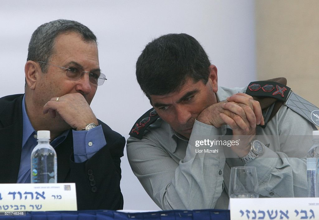Israeli Defence Minister Ehud Barak and Chief of Staff Lt Gen Gabi Ashkenazi are seen during a ceremony on July 31 2007 in Jerusalem Israel