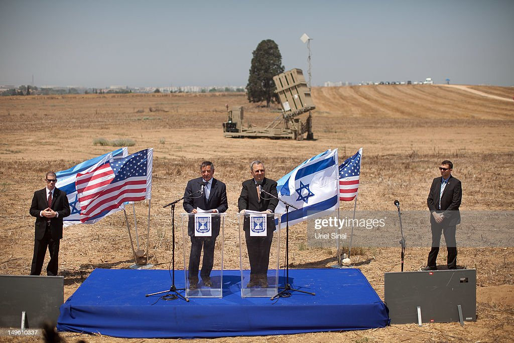 Israeli Defence Minister Ehud Barak and US Defence secretary Leon Panetta at a joint press conference as they visit an Iron Dome defense system...