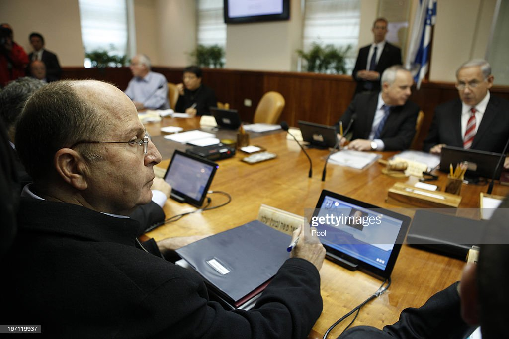Israeli Defence Minister Moshe Yaalon looks on during the weekly cabinet meeting on April 21, 2013. in Jerusalem, Israel. According to reports, Prime Minister Benjamin Netanyahu has vowed to retaliate over the recent rocket attack on the Red Sea resort town of Eilat. U.S. Defense Secretary Chuck Hagel has begun his first visit to Israel, part of a week-long tour of the Middle East, and is due to speak on the issue of Iran amongst other things.