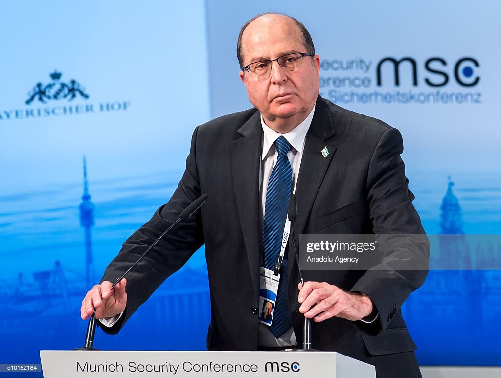 Israeli Defence Minister Moshe Yaalon speaks at the 2016 Munich Security Conference at the Bayerischer Hof hotel on February 14, 2016 in Munich, Germany. The annual event brings together government representatives and security experts from across the globe and this year the conflict in Syria will be the main issue under discussion.