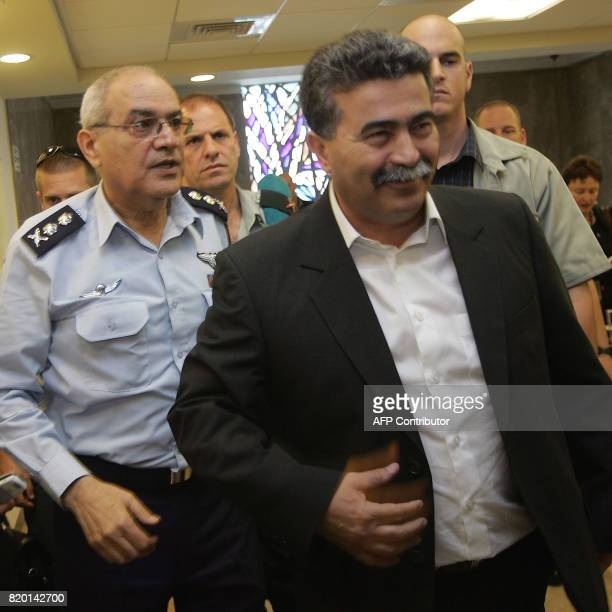 Israeli Defense Minister Amir Peretz and IDF ChiefofStaff Dan Halutz arrive last for the weekly cabinet meeting 30 May 2006 in Jerusalem The Israeli...
