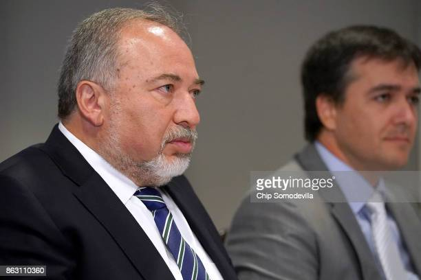 Israeli Defense Minister Avigdor Lieberman delivers brief remarks before a lunch meeting with US Defense Secretary James Mattis and other officials...