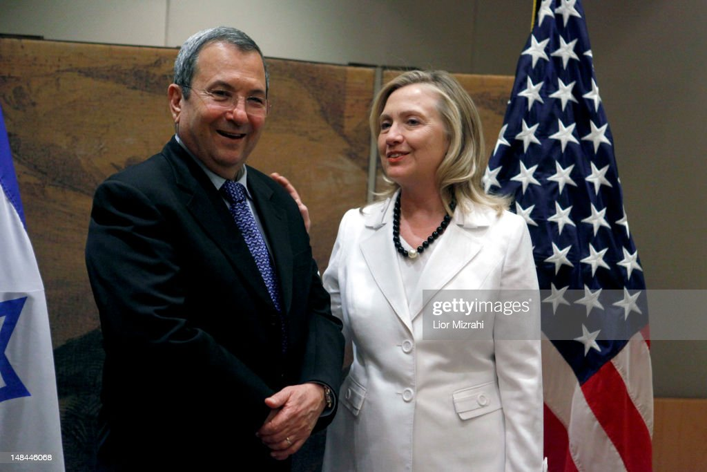 Israeli Defense Minister Ehud Barak welcomes US Secretary of State Hillary Clinton before their meeting on July 16 2012 in Jerusalem Israel Clinton...