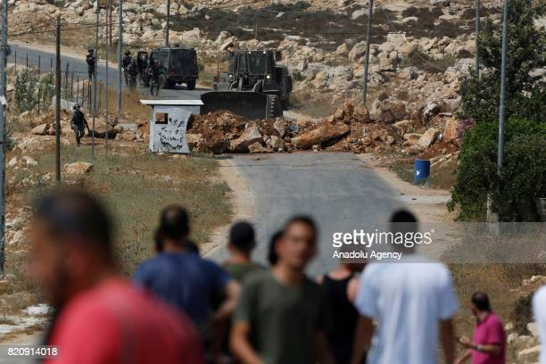 Israeli forces siege around the hometown of a Palestinian man Monir alAbed who allegedly killed three Jewish settlers in a nearby settlement in Kobar...