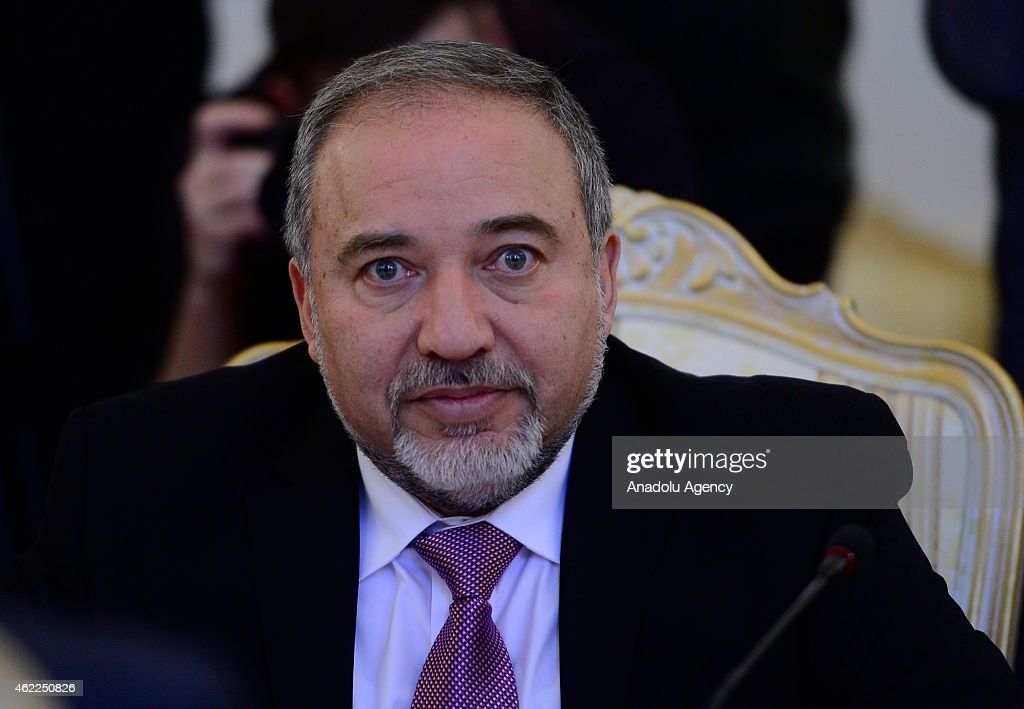 Israeli Foreign Minister Avigdor Liberman attends a meeting with Russian Foreign Minister Sergey Lavrov (not seen) in Moscow, Russia on January 26, 2015.