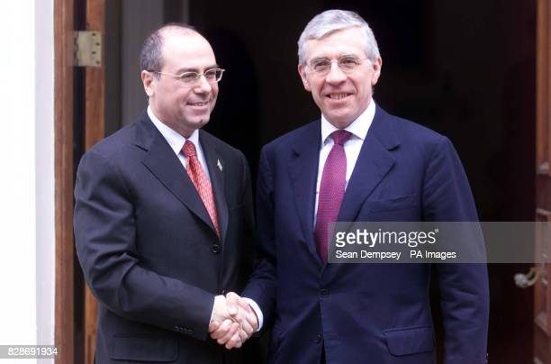 Israeli foreign minister Silvan Shalom and Foreign secretary Jack Straw arriving at Carlton Gardens London Mr Shalom arrived in Downing Street for...