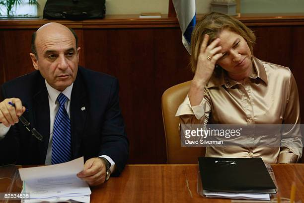 Israeli Foreign Minister Tzipi Livni and Transport Minister Shaul Mofaz wait for the start of the weekly cabinet meeting August 24 2008 at Prime...