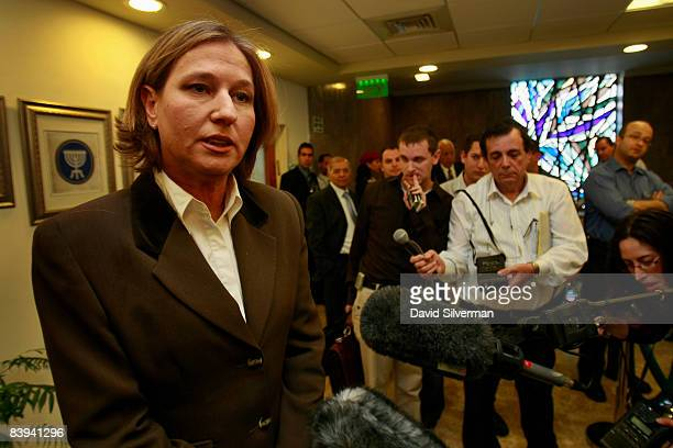 Israeli Foreign Minister Tzipi Livni calls for action against Hamas in the Gaza Strip at the start of the weekly cabinet meeting December 7 2008 in...