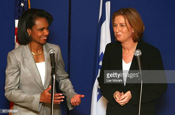 Israeli Foreign Minister Tzipi Livni right meets with US Secretary of State Condoleezza Rice at the David Citadel Hotel in Jerusalem July 24 2006 US...