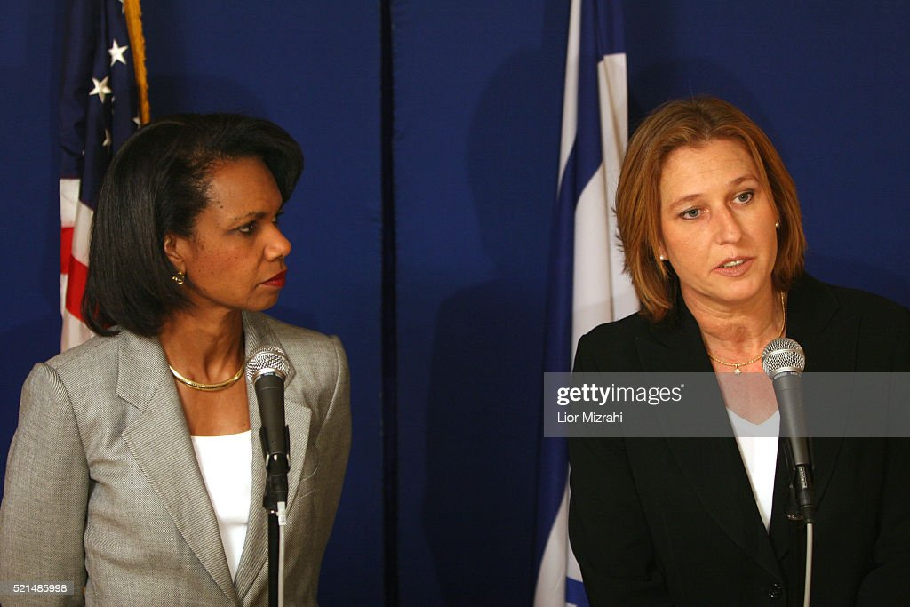 Israeli Foreign Minister <a gi-track='captionPersonalityLinkClicked' href=/galleries/search?phrase=Tzipi+Livni&family=editorial&specificpeople=537394 ng-click='$event.stopPropagation()'>Tzipi Livni</a>, right, meets with US Secretary of State <a gi-track='captionPersonalityLinkClicked' href=/galleries/search?phrase=Condoleezza+Rice&family=editorial&specificpeople=157540 ng-click='$event.stopPropagation()'>Condoleezza Rice</a> at the David Citadel Hotel in Jerusalem, July 24, 2006. US Secretary of State <a gi-track='captionPersonalityLinkClicked' href=/galleries/search?phrase=Condoleezza+Rice&family=editorial&specificpeople=157540 ng-click='$event.stopPropagation()'>Condoleezza Rice</a> arrived in Israel earlier today to discuss ways to end fighting on Israel's second front, where it is battling Lebanon's Hezbollah guerrillas.