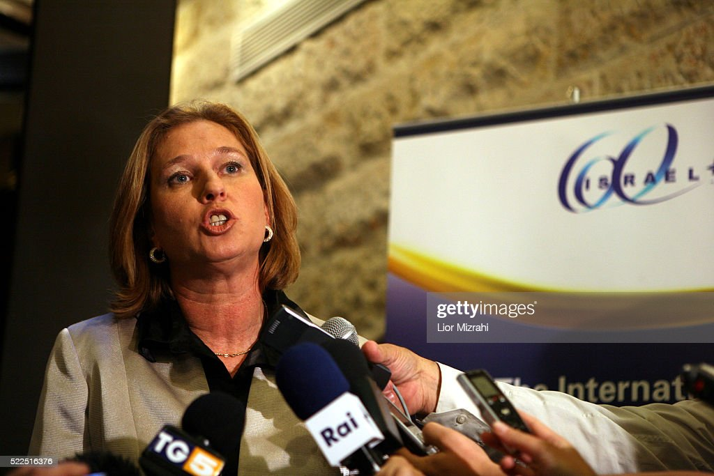 Israeli Foreign Minister <a gi-track='captionPersonalityLinkClicked' href=/galleries/search?phrase=Tzipi+Livni&family=editorial&specificpeople=537394 ng-click='$event.stopPropagation()'>Tzipi Livni</a> speaks to reporters during a conference on May 29, 2008 in Jerusalem, Israel.