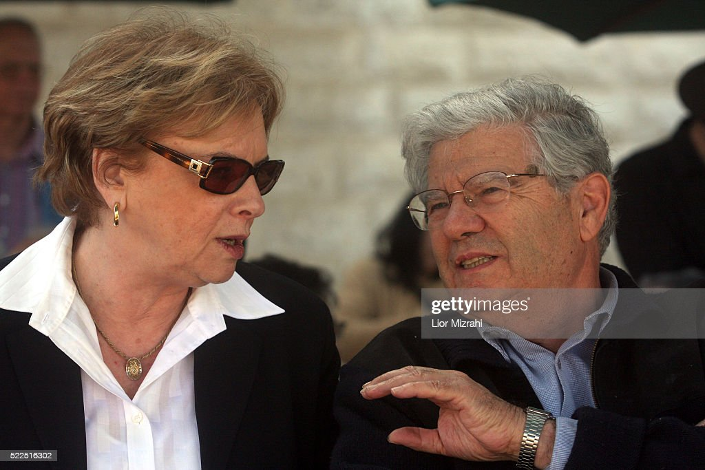 Israeli former Chief Justice Aharon Barak speaks to Chief Justice of the Israeli Supreme Court Dorit Beinisch on March 16 2008 in Jerusalem Israel
