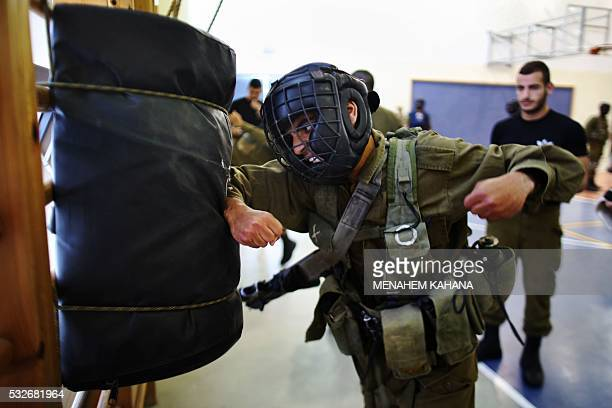 Israeli Golani infantry soldiers take part in a training of Krav Maga the closecombat method conceived in secrecy by the Israeli military in the...