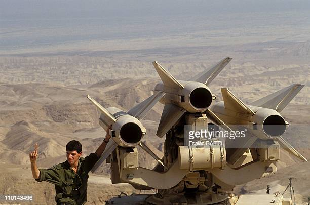 Israeli hawk antiaircraft missile bettery facing the Jordan valley in Jericho Israel on August 30 1993