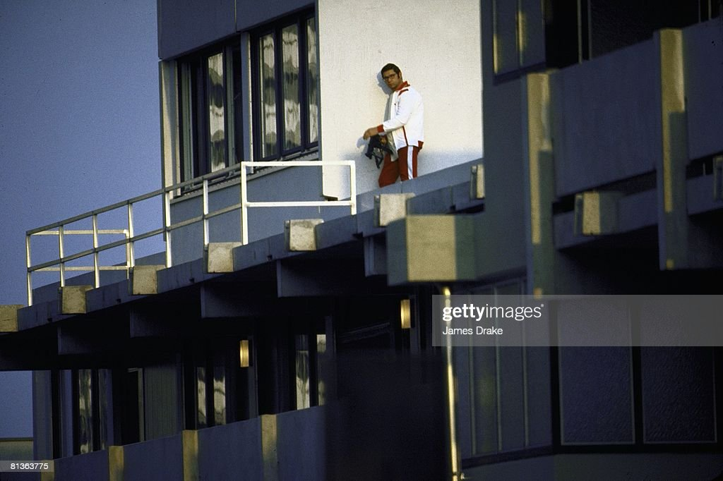 1972 Summer Olympics. An armed police officer on a roof top in the Olympic Village during the crisis, Munich, 5th September 1972