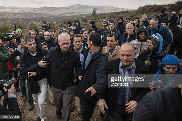 Israeli Housing Minister Yoav Galant visits the settlement outpost of Amona which was established in 1997 and built on private Palestinian land in...