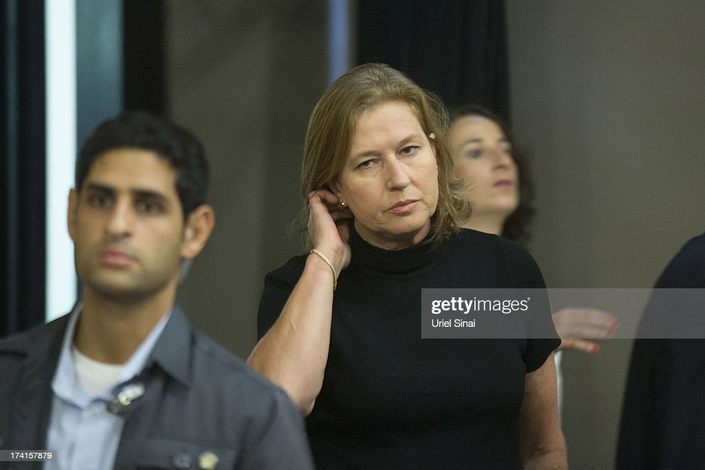 Israeli Justice Minister <a gi-track='captionPersonalityLinkClicked' href=/galleries/search?phrase=Tzipi+Livni&family=editorial&specificpeople=537394 ng-click='$event.stopPropagation()'>Tzipi Livni</a> arrives for the weekly cabinet meeting on July 21, 2013 in Jerusalem, Israel. The Israeli cabinet met at the Menachem Begin Heritage Center as part of a series of events marking the 100th anniversary of the birth of former Israeli Prime Minister Menachem Begin.
