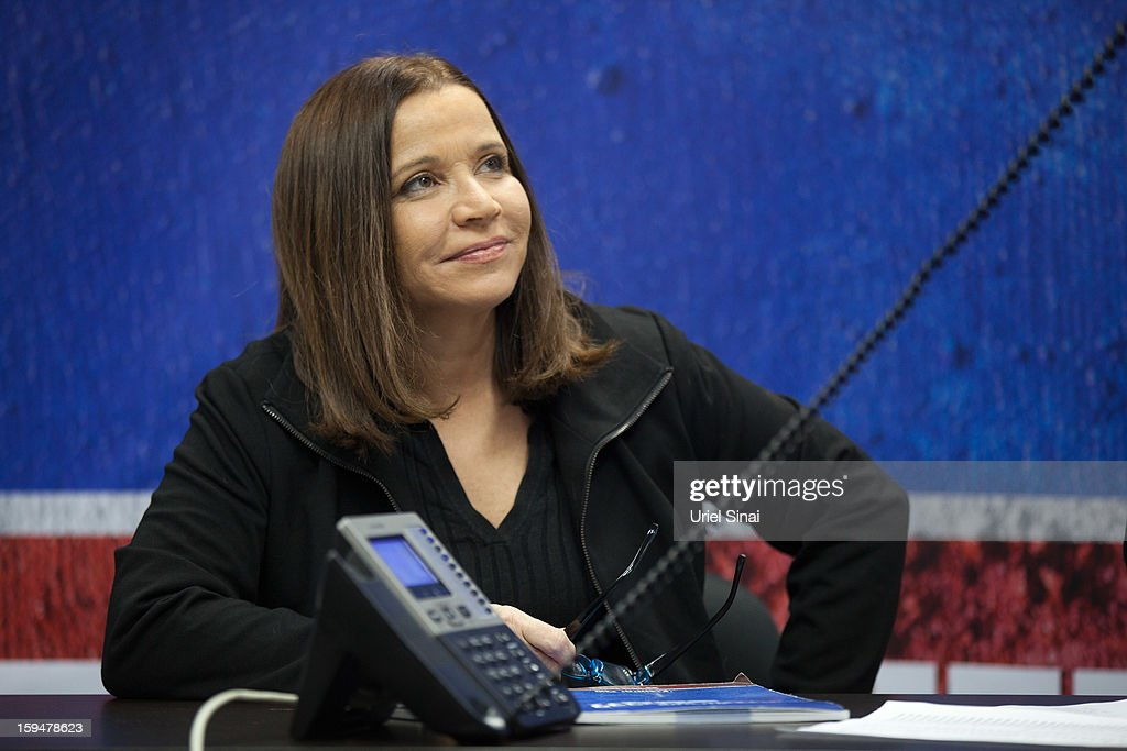 Israeli Labor party leader Shelly Yachimovich calls potential voters over the phone ahead of the upcoming Israeli elections on January 14, 2013. in Tel Aviv, Israel. Israeli elections are scheduled for January 22 and so far showing a majority for the Israeli right.