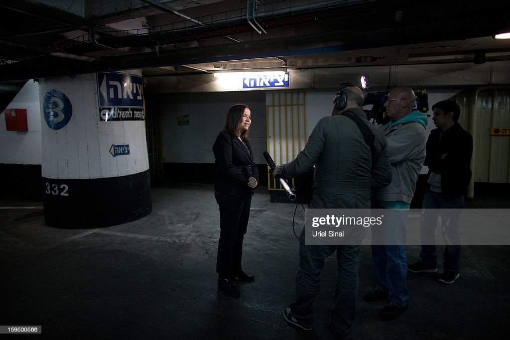 Israeli Labor party leader Shelly Yachimovich gives a TV interview after attending a campaign rally at a shopping center ahead of the upcoming Israeli elections on January 14, 2013. in Tel Aviv, Israel. Israeli elections are scheduled for January 22 and so far showing a majority for the Israeli right. (Photo by Uriel Sinai/Getty Images)Ê