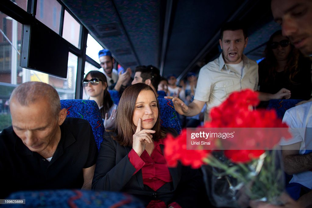 Israeli Labor party leader Shelly Yachimovich sits in a bus during a campaign tour on January 21, 2013 in Tel Aviv, Israel. The Israeli general election will be held on January 22.