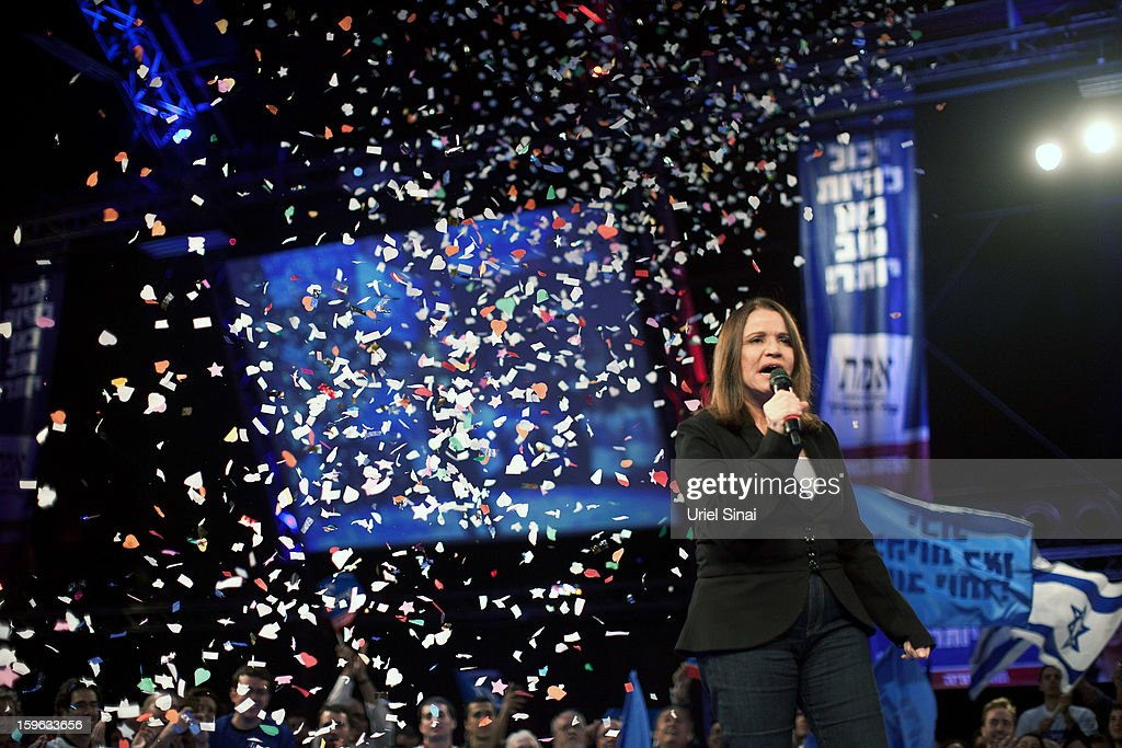 Israeli Labor party leader Shelly Yachimovich speaks during a campaign rally ahead of the upcoming Israeli elections on January 17, 2013 in Tel Aviv, Israel. Israeli elections are scheduled for January 22, and are reportedly showing a majority for the Israeli right.