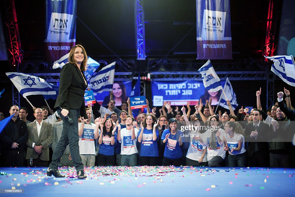 Israeli Labor party leader Shelly Yachimovich walks onstage during a campaign rally ahead of the upcoming Israeli elections on January 17, 2013 in Tel Aviv, Israel. Israeli elections are scheduled for January 22, and are reportedly showing a majority for the Israeli right.