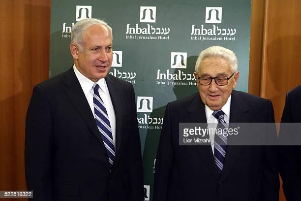 Israeli Likud party leader Benjamin Netanyahu meets with Former US Secretary of State Henry Kissinger on May 13 2008 in Jerusalem Israel