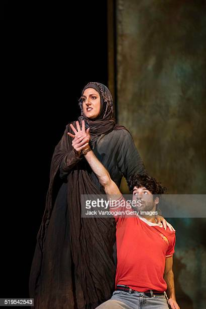 Israeli mezzosoprano Maya Lahyani and American tenor Jesse Kovarsky perform during the final dress rehearsal for the Metropolitan Opera's premiere of...