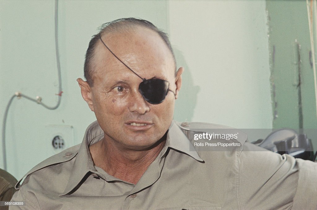 Israeli military leader and Defense Minister of Israel, <a gi-track='captionPersonalityLinkClicked' href=/galleries/search?phrase=Moshe+Dayan&family=editorial&specificpeople=93808 ng-click='$event.stopPropagation()'>Moshe Dayan</a> (1915-1981) pictured at a press conference in Gaza, Palestine on 5th July 1967 after the end of major hostilities in the Six Day War.