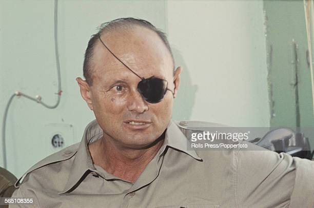 Israeli military leader and Defense Minister of Israel Moshe Dayan pictured at a press conference in Gaza Palestine on 5th July 1967 after the end of...