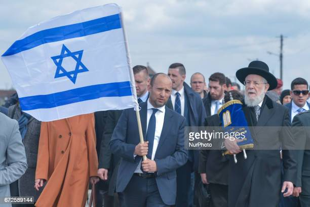Israeli minister of Education Naftali Bennett and Rabbi Yisrael Meir Lau the Chief Rabbi of Tel Aviv and Chairman of Yad Vashem participating in the...